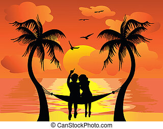 lover watching sunset - lover watching the beautiful sunset