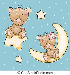 Lovers Bears - Valentine card with Lovers Teddy Bears on a...