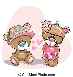 Lovers Bears - Valentine card with Lovers Teddy Bears on the...