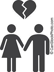 Lovers breakup glyph icon