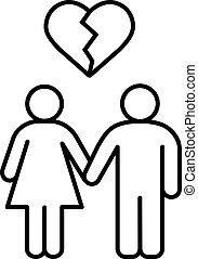 Lovers breakup linear icon