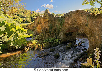 Lovers Bridge over River Avill, Dunster Castle, Somerset, ...