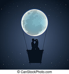 Lovers by hot air balloon in moon form - Lovers by hot air ...