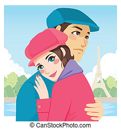 Lovers Hug Eiffel Tower - Young lovers couple hug in Paris...