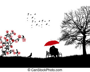 Lovers in a park on the bench under red umbrella, vector illustration