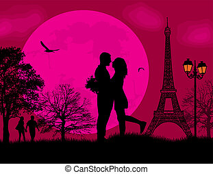 Lovers in Paris on romantic red sunset background, vector...