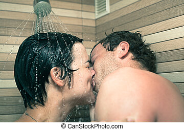 Lovers in shower