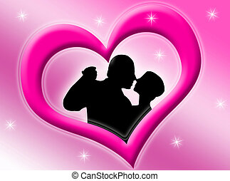 Lovers inside a pink heart on a starry background