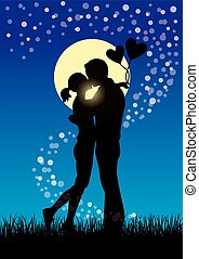 Lovers kissing couple sihouette