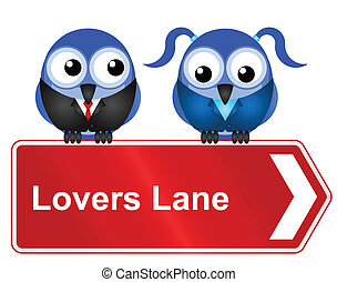 lovers lane - Comical lovers lane sign isolated on white...