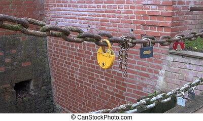 lovers lock on bridge chain