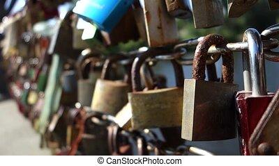 lovers locks on a bridge