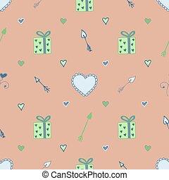lovers., modello, frecce, seamless, cuori, pastell