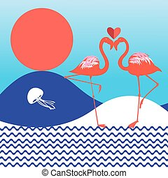 Lovers of red flamingo