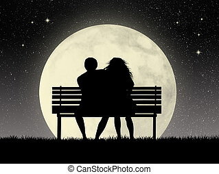 Lovers on bench - illustration of lovers on bench