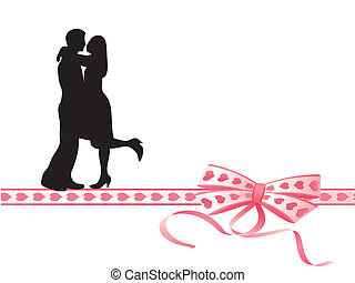 Lovers kissing on a very colorful bow