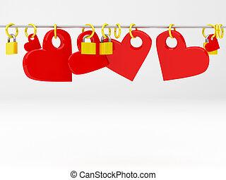 Lovers padlock - 3d render illustration of a padlock's ...