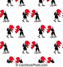 Lovers pattern.Seamless pattern for Valentine's Day. A guy and a girl are holding a broken heart.Vector