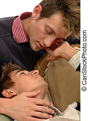 Lovers - Two young men are about to kiss each other