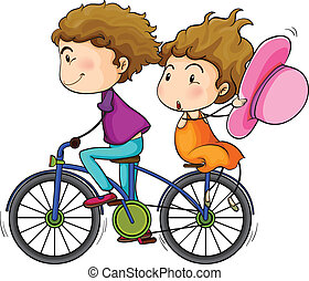 Lovers riding a bike