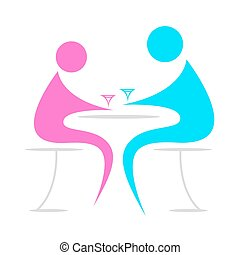 lovers spending time together - illustration of chatting on ...