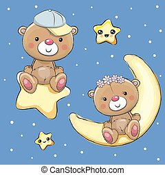 Lovers Teddy Bears on a moon and star