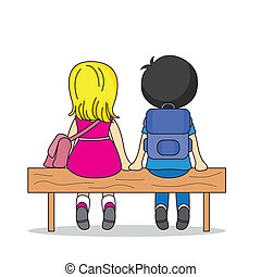 lovers - Illustration of two children sitting on a bench....