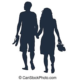 Lovers walking barefoots