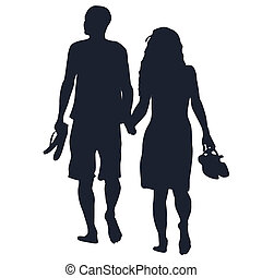 Lovers walking barefoots - Silhouettes of lovers walking...