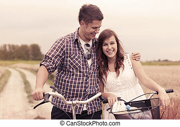 Lovers with bicycles