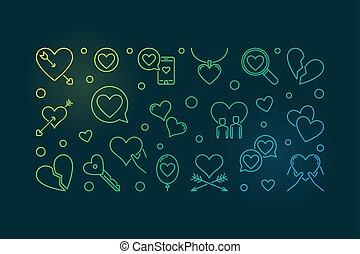 Lovesickness vector colored outline illustration or banner -...