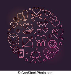 Lovesickness vector round colorful outline illustration -...