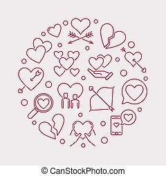 Lovesickness vector round outline modern illustration