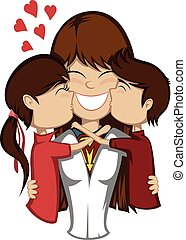 A brunette super mother and her brunette son and girl (children kiss mother).