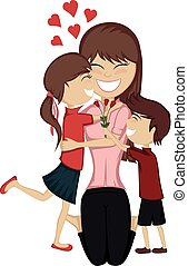 Lovin' mommy collection - A cute brunette girl and boy...