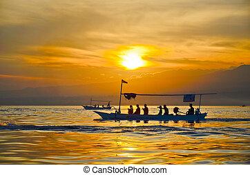 lovina, indonesia, spiaggia, alba, bali
