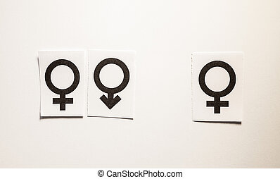 Loving affair - Male and female symbols, one pair and one ...
