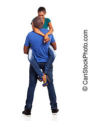 loving african husband lifting his wife