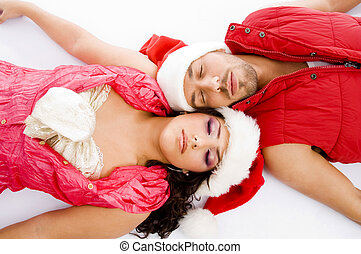 loving american couple lying down on floor