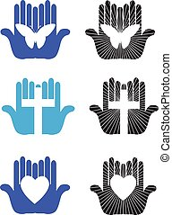 Graphic designs variety of worship and caring hands with various iconic shapes including Christian cross, heart, and butterfly. Versions also present a glow effect with radiating rules.
