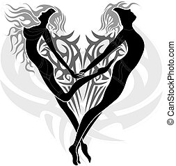Tattoo design with a couple of two loving angels (a woman and a man) in a tribal heart.