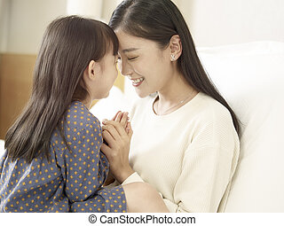 loving asian mother and daughter