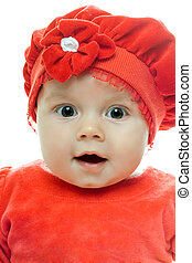 Loving baby girl - Portrait of loving baby girl. Isolated on...