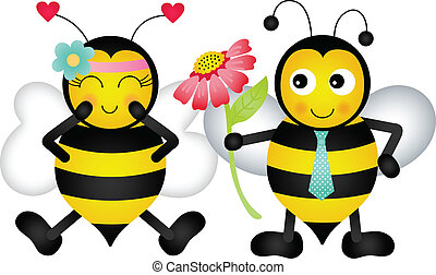 Loving bees - Scalable vectorial image representing a loving...
