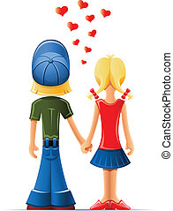 loving boy and girl vector illustration isolated on white background