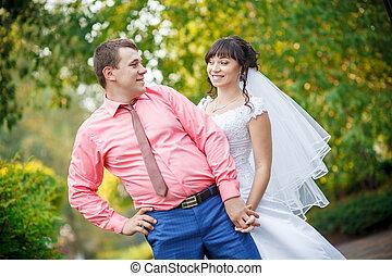 loving bride and groom embracing