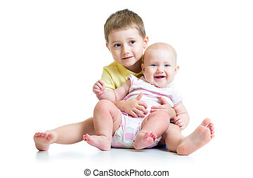 Loving brother hugging little sister isolated