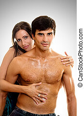 Loving Caress - Woman embraces and caresses her lover or...