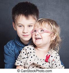 Loving Children Sibling Hugging