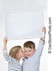 loving children with billboard